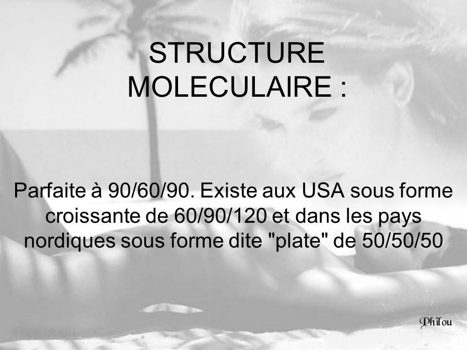 STRUCTURE MOLECULAIRE : Parfaite à 90/60/90. Existe aux USA sous forme croissante de 60/90/120 et dans les pays nordiques sous forme dite