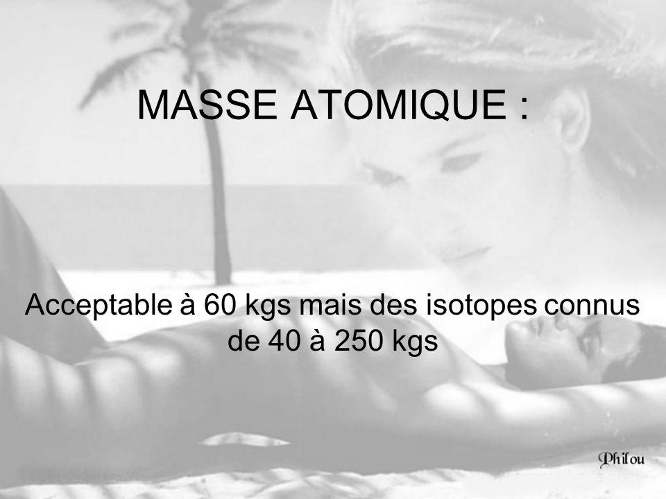 MASSE ATOMIQUE : Acceptable à 60 kgs mais des isotopes connus de 40 à 250 kgs