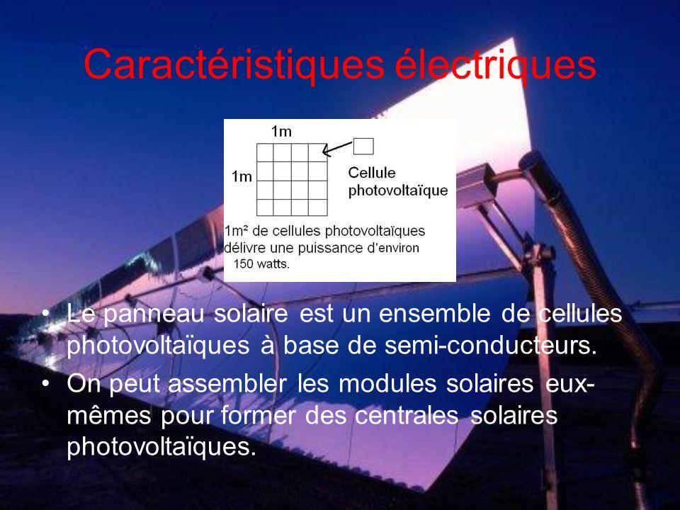 Caractéristiques électriques Le panneau solaire est un ensemble de cellules photovoltaïques à base de semi-conducteurs.