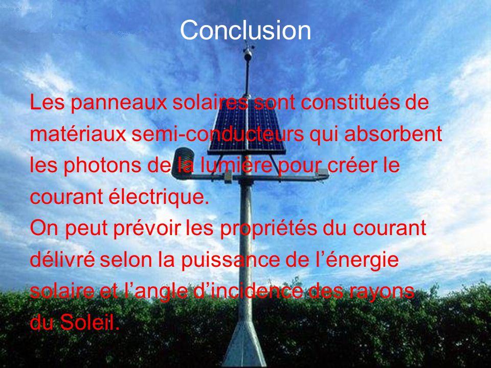 Conclusion Les panneaux solaires sont constitués de matériaux semi-conducteurs qui absorbent les photons de la lumière pour créer le courant électrique.