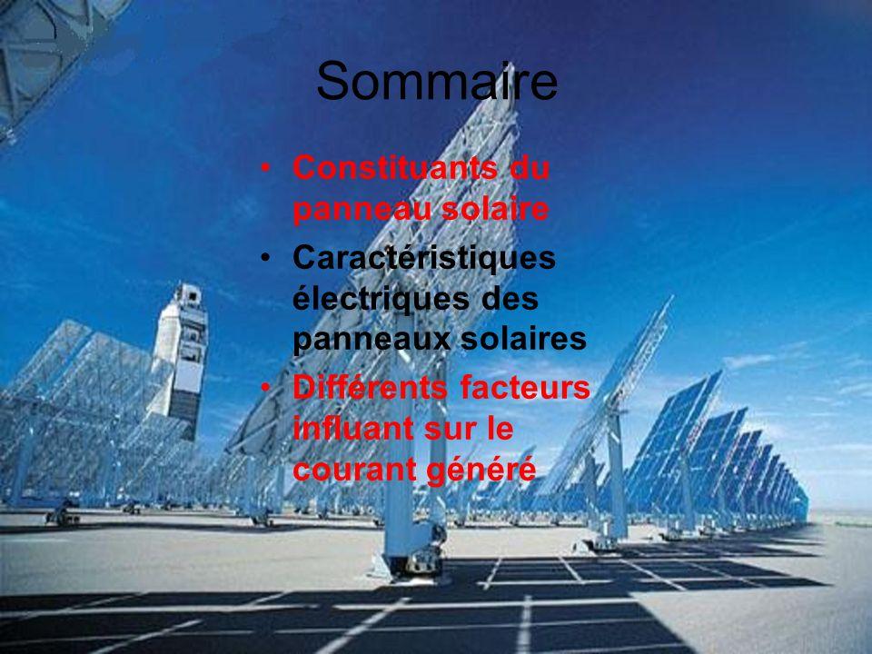 Sommaire Constituants du panneau solaire Caractéristiques électriques des panneaux solaires Différents facteurs influant sur le courant généré