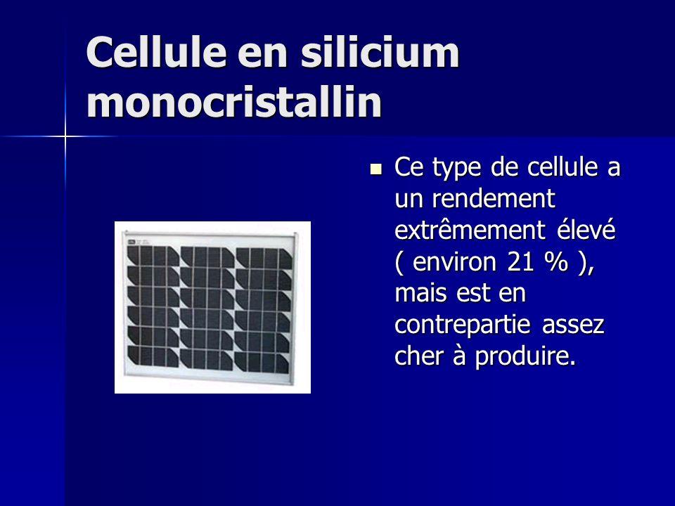 Cellule en silicium monocristallin Ce type de cellule a un rendement extrêmement élevé ( environ 21 % ), mais est en contrepartie assez cher à produire.