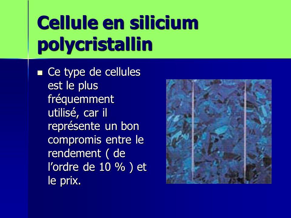 Cellule en silicium polycristallin Ce type de cellules est le plus fréquemment utilisé, car il représente un bon compromis entre le rendement ( de lordre de 10 % ) et le prix.