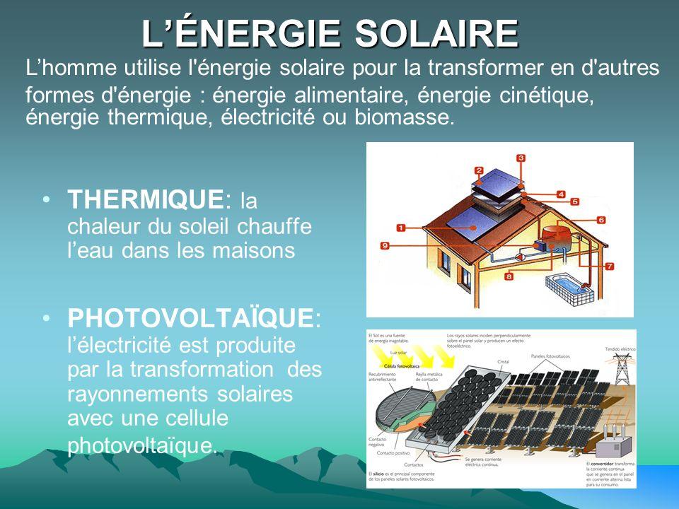 LÉNERGIE SOLAIRE THERMIQUE: la chaleur du soleil chauffe leau dans les maisons PHOTOVOLTAÏQUE: lélectricité est produite par la transformation des ray