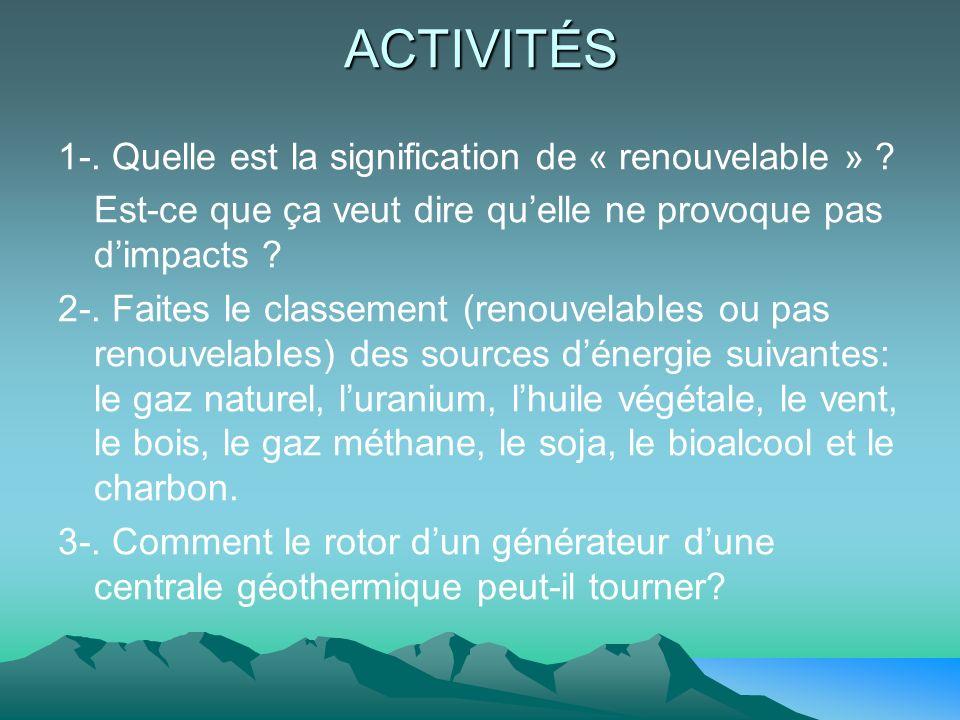 ACTIVITÉS 1-. Quelle est la signification de « renouvelable » ? Est-ce que ça veut dire quelle ne provoque pas dimpacts ? 2-. Faites le classement (re