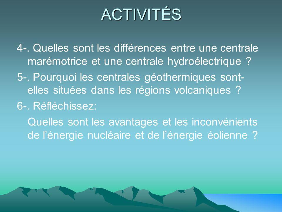 ACTIVITÉS 4-. Quelles sont les différences entre une centrale marémotrice et une centrale hydroélectrique ? 5-. Pourquoi les centrales géothermiques s