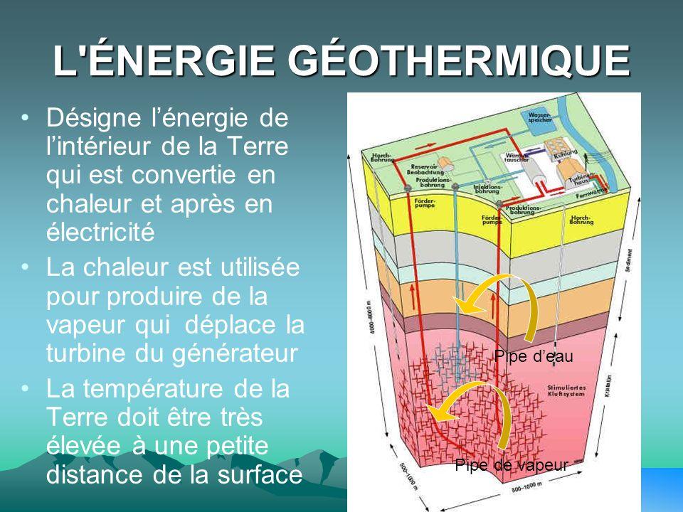 L'ÉNERGIE GÉOTHERMIQUE Désigne lénergie de lintérieur de la Terre qui est convertie en chaleur et après en électricité La chaleur est utilisée pour pr