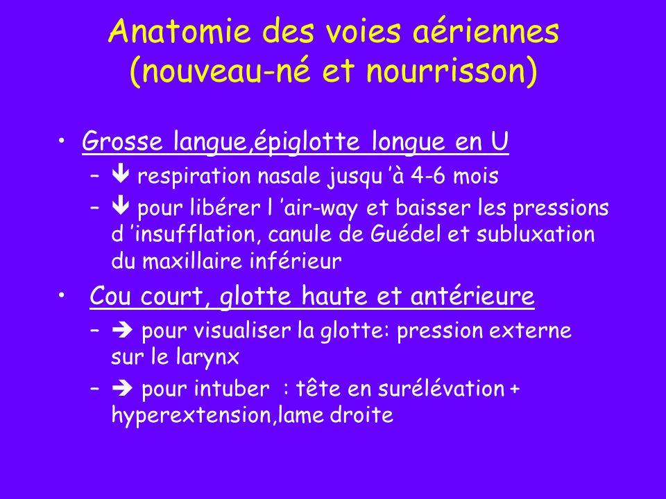 Anatomie des voies aériennes (nouveau-né et nourrisson) Grosse langue,épiglotte longue en U – respiration nasale jusqu à 4-6 mois – pour libérer l air