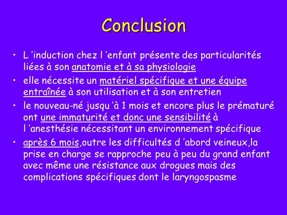 Conclusion L induction chez l enfant présente des particularités liées à son anatomie et à sa physiologie elle nécessite un matériel spécifique et une