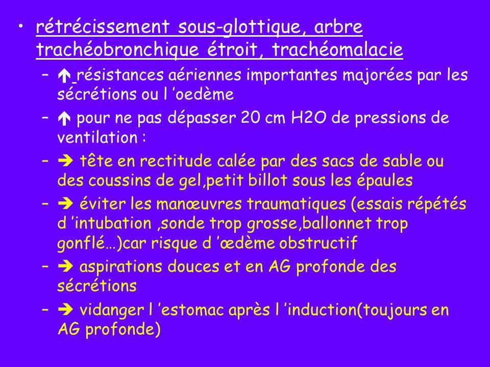 physiologie respiratoire (valeurs adultes/poids atteintes vers 3-4 ans) consommation d O2 élevée ventilation alvéolaire importante(140 ml/kg/mn pour 60 ml/kg/mn chez l adulte) Hb fœtale a + d affinité pour l O2 moins d O2 aux tissus(HbF nné 60-80%, 3 mois <50%, 6 mois idem adulte) petit volume courant compensé par une fréquence respiratoire élevée travail ventilatoire important assuré surtout par le diaphragme plus fatigable à cet âge(=fibres type I, progressivement remplacées par type II la 1ère année)