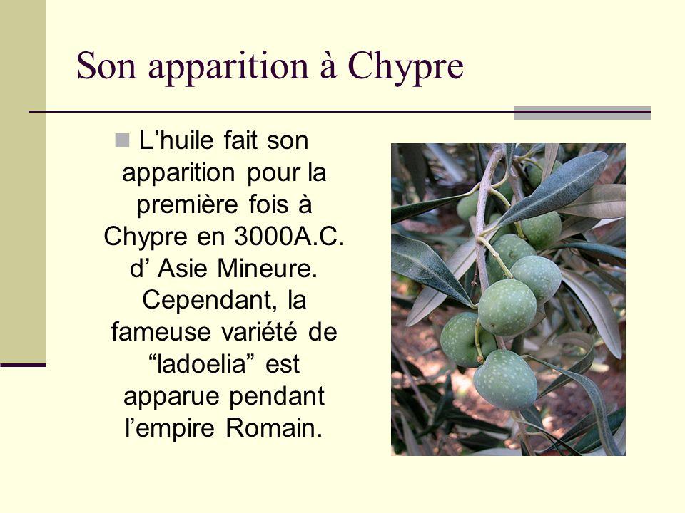 Son apparition à Chypre Lhuile fait son apparition pour la première fois à Chypre en 3000A.C. d Asie Mineure. Cependant, la fameuse variété de ladoeli