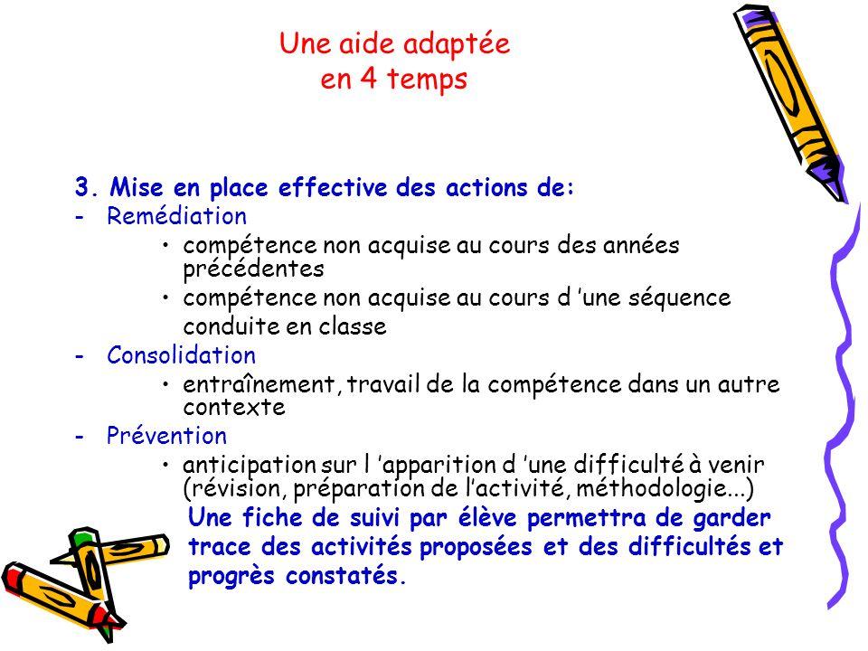 Une aide adaptée en 4 temps 3. Mise en place effective des actions de: -Remédiation compétence non acquise au cours des années précédentes compétence