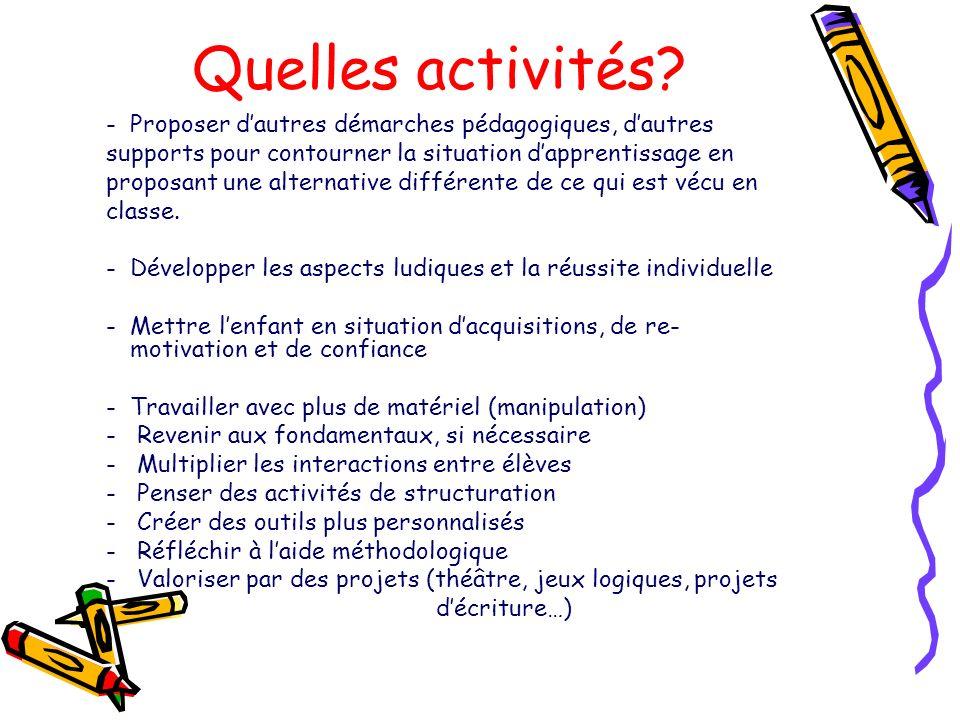 Quelles activités? -Proposer dautres démarches pédagogiques, dautres supports pour contourner la situation dapprentissage en proposant une alternative