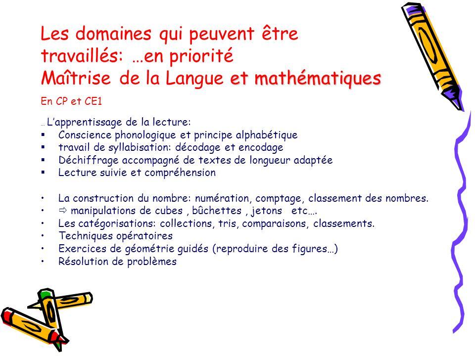 et mathématiques Les domaines qui peuvent être travaillés: …en priorité Maîtrise de la Langue et mathématiques En CP et CE1 … Lapprentissage de la lec