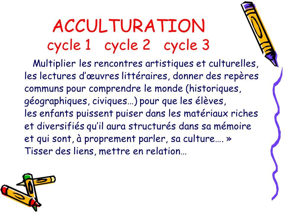 ACCULTURATION cycle 1 cycle 2 cycle 3 Multiplier les rencontres artistiques et culturelles, les lectures dœuvres littéraires, donner des repères commu