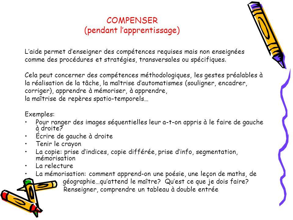 COMPENSER (pendant lapprentissage) Laide permet denseigner des compétences requises mais non enseignées comme des procédures et stratégies, transversa