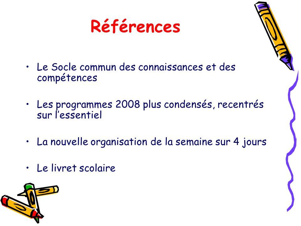 Références Le Socle commun des connaissances et des compétences Les programmes 2008 plus condensés, recentrés sur lessentiel La nouvelle organisation