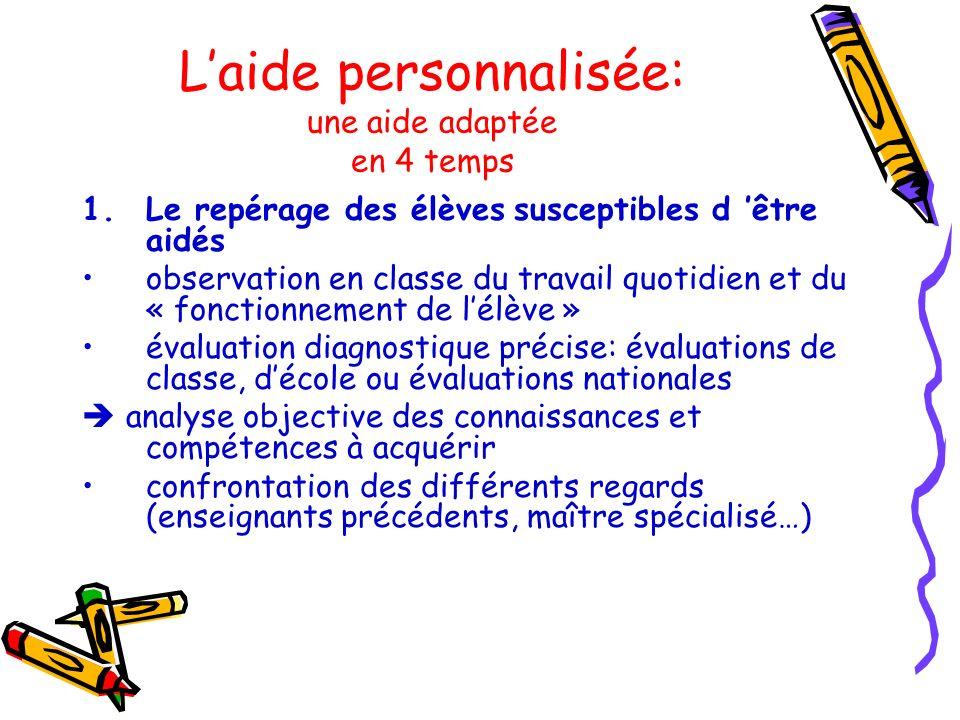 Laide personnalisée: une aide adaptée en 4 temps 1.Le repérage des élèves susceptibles d être aidés observation en classe du travail quotidien et du «