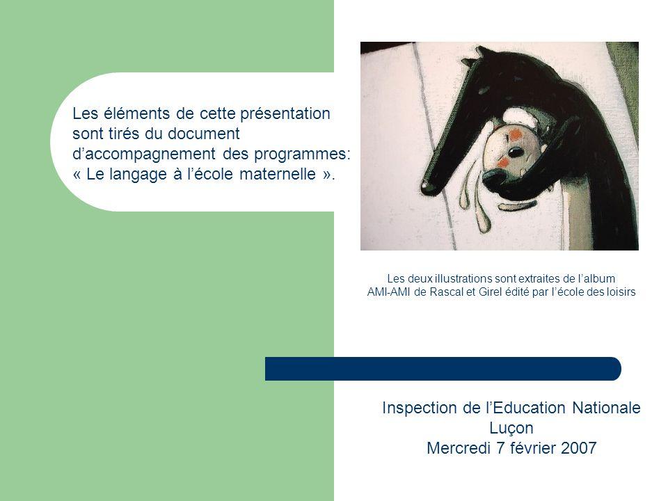 Les éléments de cette présentation sont tirés du document daccompagnement des programmes: « Le langage à lécole maternelle ». Inspection de lEducation