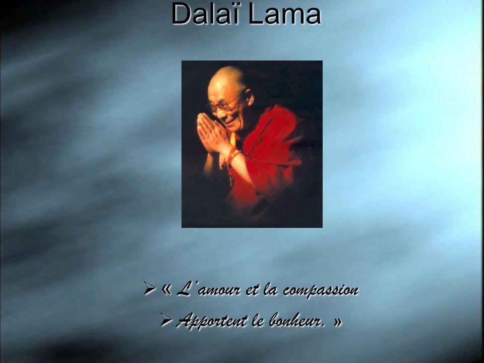 Dalaï Lama « Lamour et la compassion Apportent le bonheur. » « Lamour et la compassion Apportent le bonheur. »