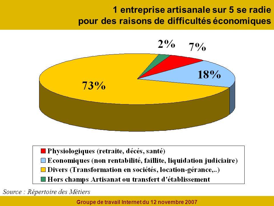 1 entreprise artisanale sur 5 se radie pour des raisons de difficultés économiques Source : Répertoire des Métiers Groupe de travail Internet du 12 novembre 2007