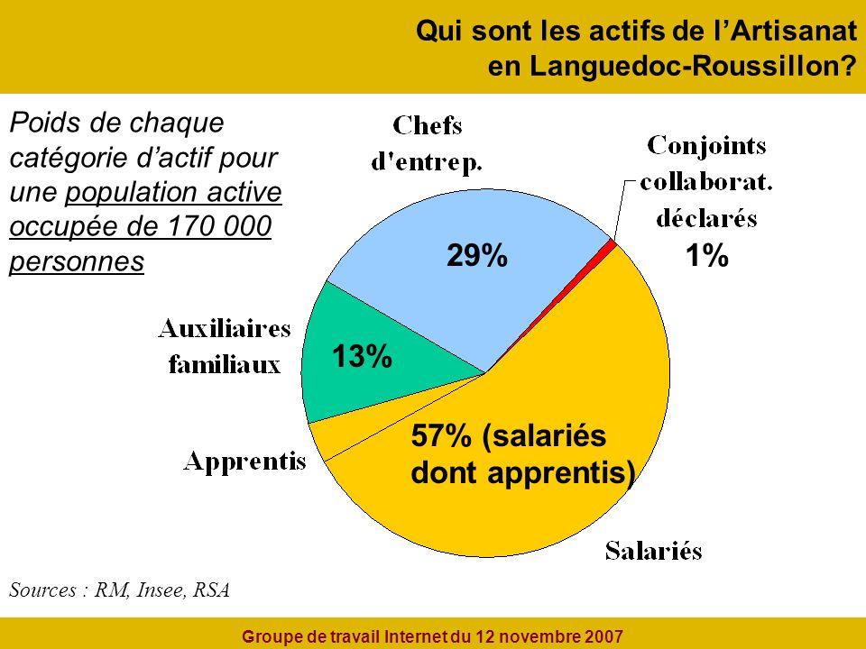 Qui sont les actifs de lArtisanat en Languedoc-Roussillon.