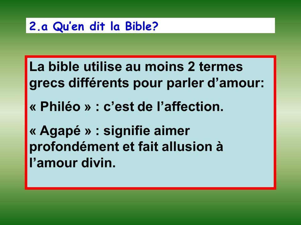 2.a Quen dit la Bible? La bible utilise au moins 2 termes grecs différents pour parler damour: « Philéo » : cest de laffection. « Agapé » : signifie a