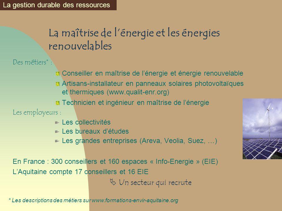La maîtrise de lénergie et les énergies renouvelables Des métiers* : Conseiller en maîtrise de lénergie et énergie renouvelable Artisans-installateur