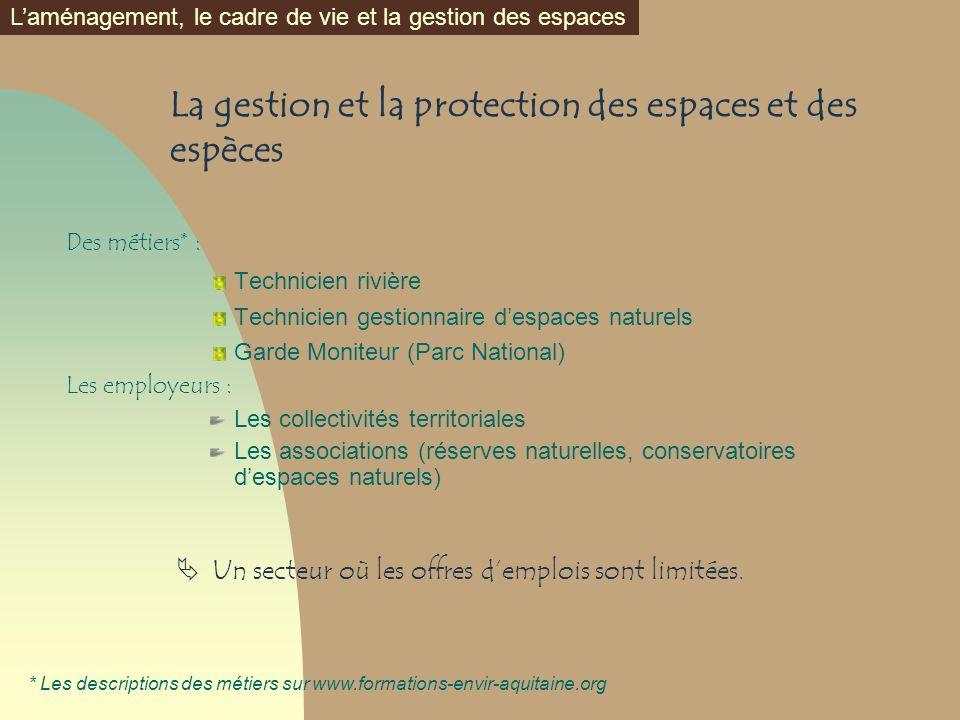 La gestion et la protection des espaces et des espèces Des métiers* : Technicien rivière Technicien gestionnaire despaces naturels Garde Moniteur (Par