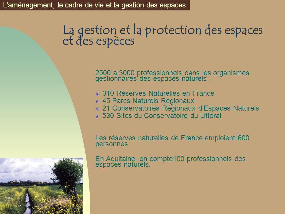 La gestion et la protection des espaces et des espèces 2500 à 3000 professionnels dans les organismes gestionnaires des espaces naturels : 310 Réserve