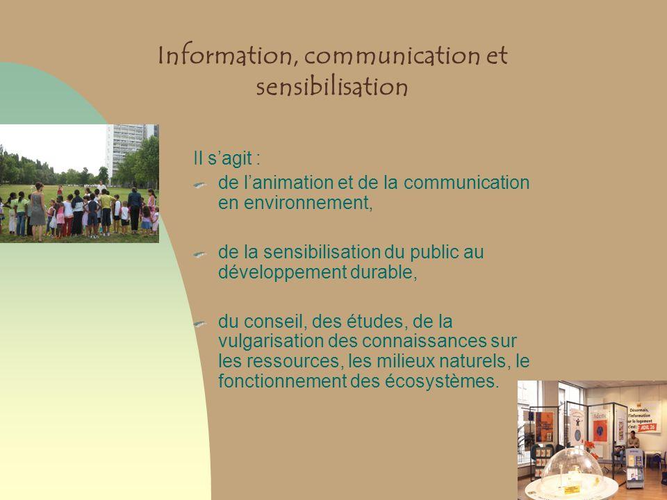 Information, communication et sensibilisation Il sagit : de lanimation et de la communication en environnement, de la sensibilisation du public au dév