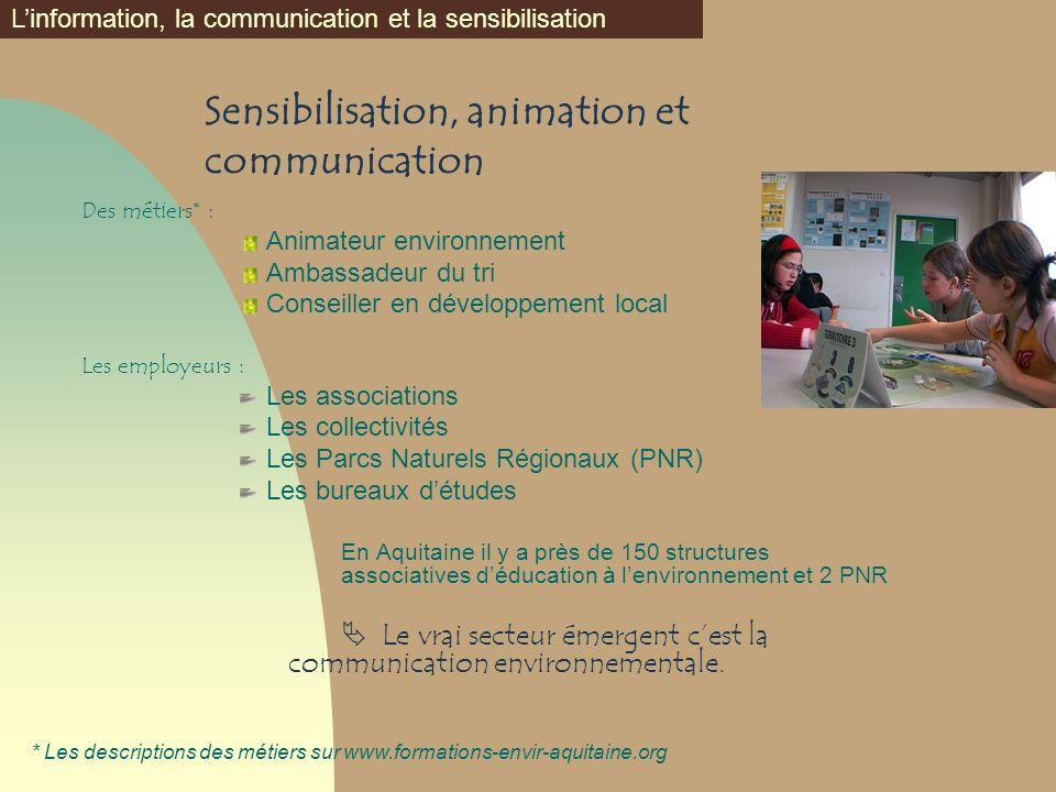 Sensibilisation, animation et communication Des métiers* : Animateur environnement Ambassadeur du tri Conseiller en développement local Les employeurs