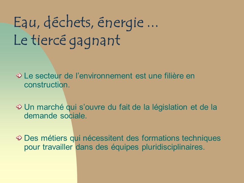 Eau, déchets, énergie... Le tiercé gagnant Le secteur de lenvironnement est une filière en construction. Un marché qui souvre du fait de la législatio