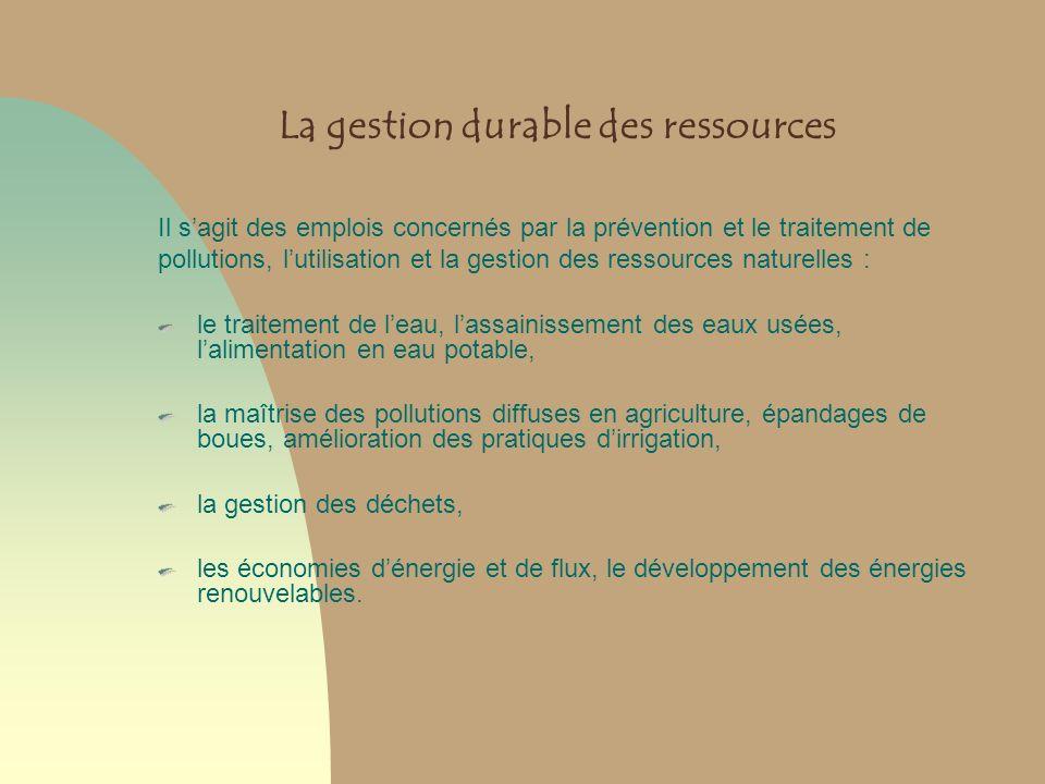 La gestion durable des ressources Il sagit des emplois concernés par la prévention et le traitement de pollutions, lutilisation et la gestion des ress