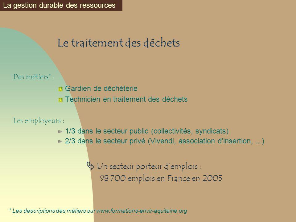 Le traitement des déchets Des métiers* : Gardien de déchèterie Technicien en traitement des déchets Les employeurs : 1/3 dans le secteur public (colle