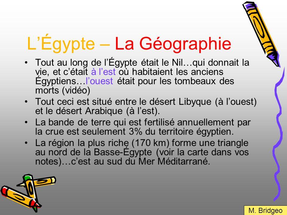 LÉgypte – La Géographie Tout au long de lÉgypte était le Nil…qui donnait la vie, et cétait à lest où habitaient les anciens Égyptiens…louest était pou
