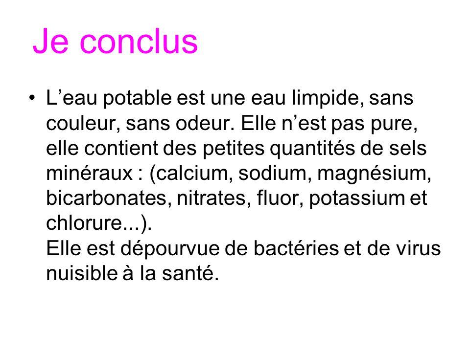 Je conclus Leau potable est une eau limpide, sans couleur, sans odeur. Elle nest pas pure, elle contient des petites quantités de sels minéraux : (cal