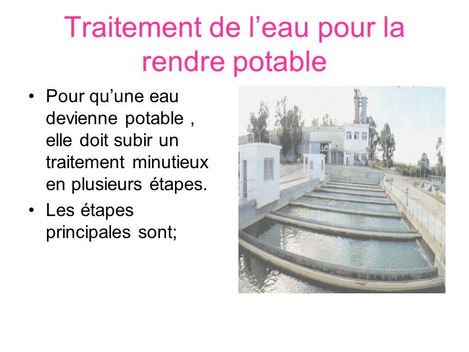 Traitement de leau pour la rendre potable Pour quune eau devienne potable, elle doit subir un traitement minutieux en plusieurs étapes. Les étapes pri