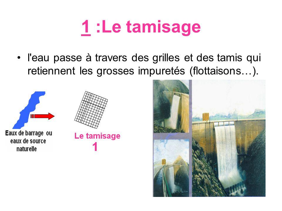 1 :Le tamisage l'eau passe à travers des grilles et des tamis qui retiennent les grosses impuretés (flottaisons…). rivière
