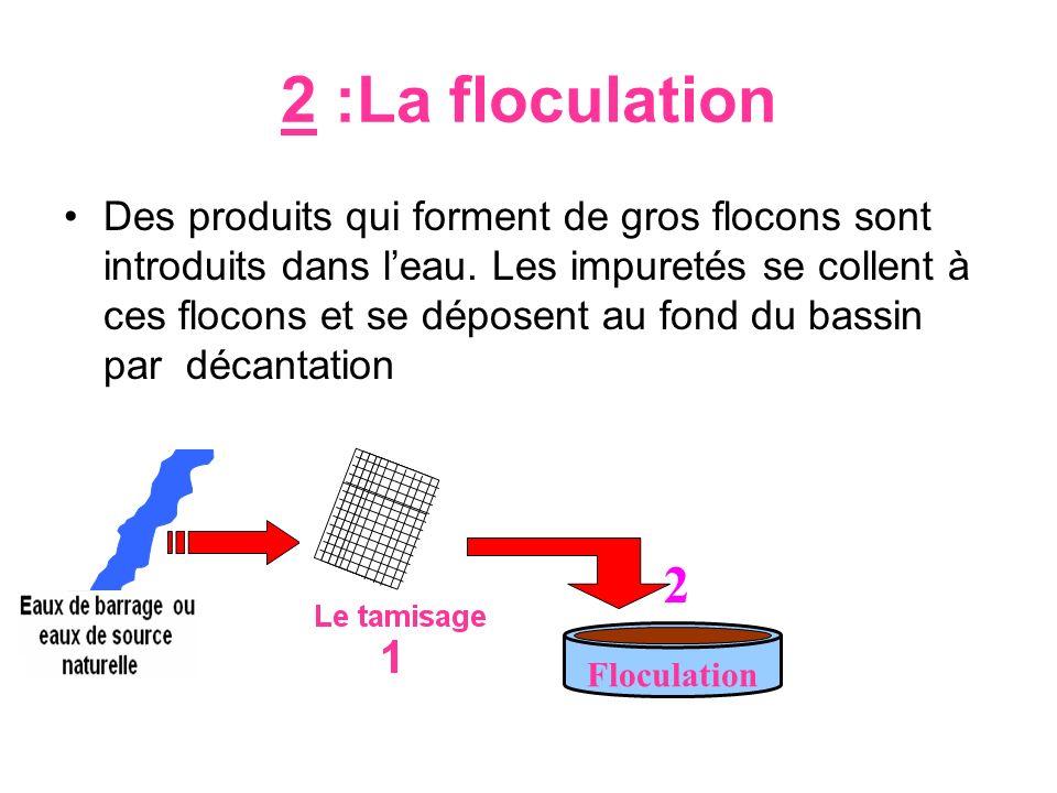 2 :La floculation Des produits qui forment de gros flocons sont introduits dans leau. Les impuretés se collent à ces flocons et se déposent au fond du