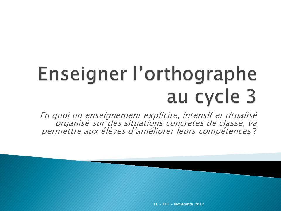 Programme de la matinée LL - FF1 - Novembre 2012
