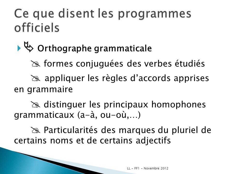 Orthographe grammaticale formes conjuguées des verbes étudiés appliquer les règles daccords apprises en grammaire distinguer les principaux homophones