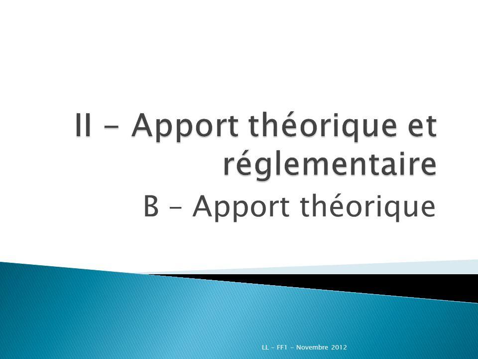 B – Apport théorique LL - FF1 - Novembre 2012