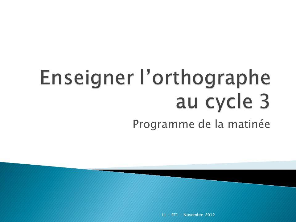 Conclusion LL - FF1 - Novembre 2012