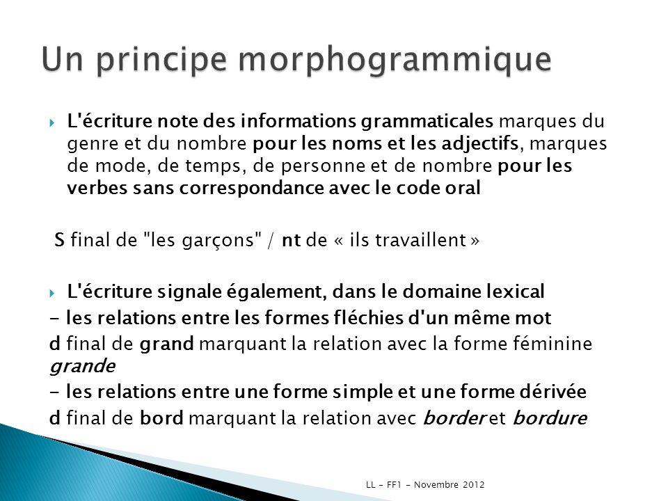 L'écriture note des informations grammaticales marques du genre et du nombre pour les noms et les adjectifs, marques de mode, de temps, de personne et