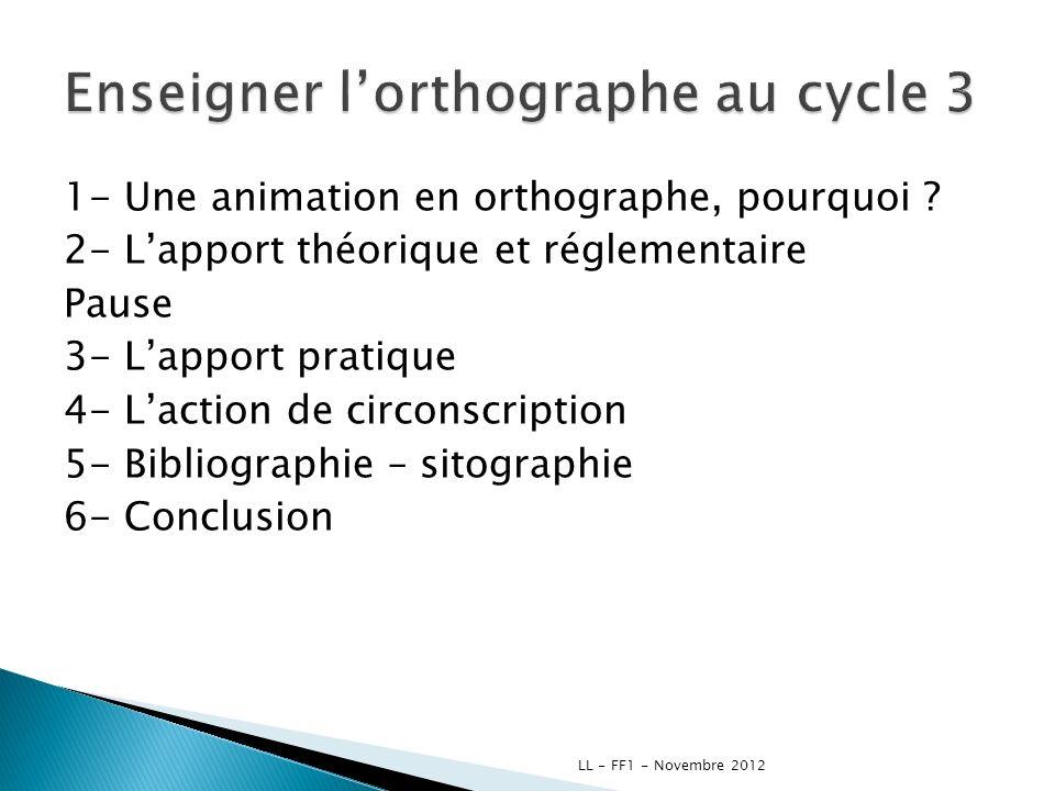 1- Une animation en orthographe, pourquoi ? 2- Lapport théorique et réglementaire Pause 3- Lapport pratique 4- Laction de circonscription 5- Bibliogra