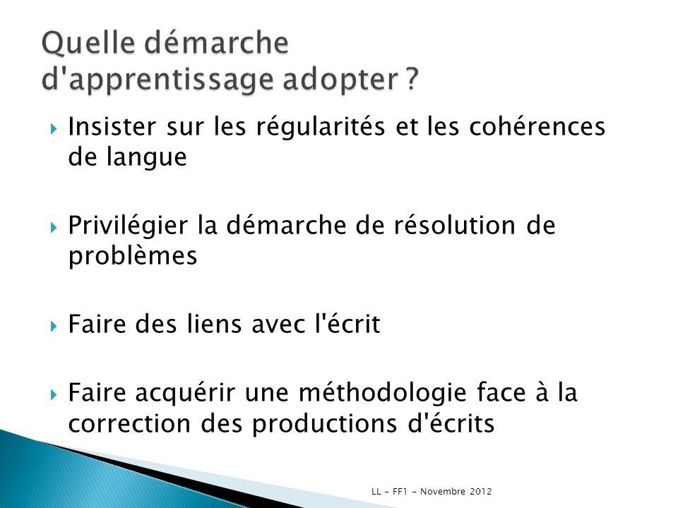 Insister sur les régularités et les cohérences de langue Privilégier la démarche de résolution de problèmes Faire des liens avec l'écrit Faire acquéri