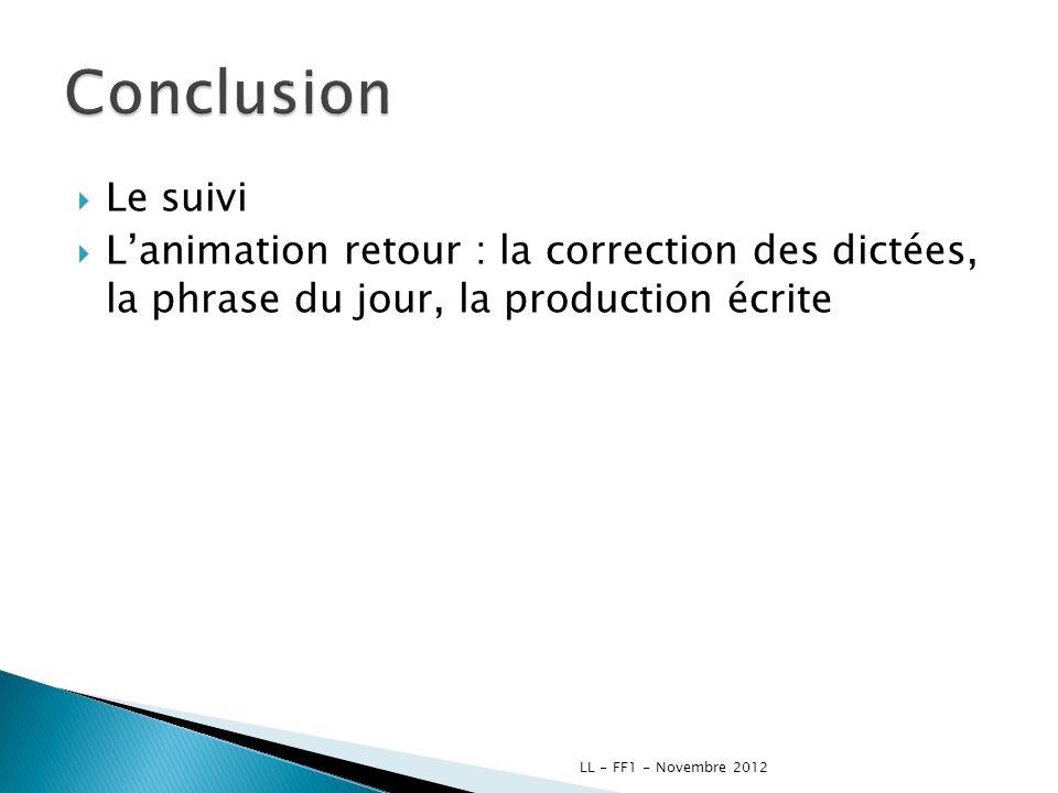 Le suivi Lanimation retour : la correction des dictées, la phrase du jour, la production écrite LL - FF1 - Novembre 2012