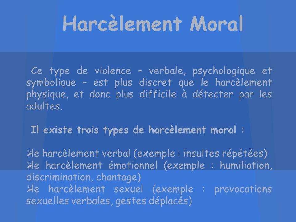 Harcèlement Moral Ce type de violence – verbale, psychologique et symbolique – est plus discret que le harcèlement physique, et donc plus difficile à
