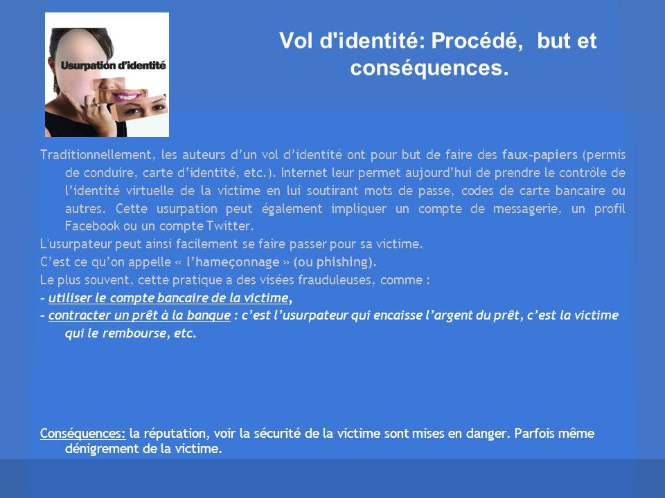 Vol d'identité: Procédé, but et conséquences. Traditionnellement, les auteurs dun vol didentité ont pour but de faire des faux-papiers (permis de cond